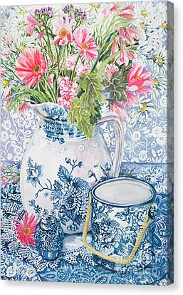 Gerberas In A Coalport Jug With Blue Pots Canvas Print by Joan Thewsey