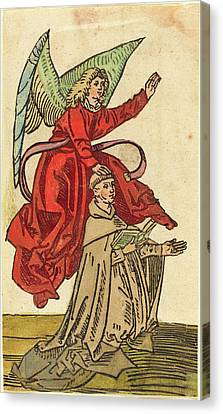 German 15th Century, A Monk With An Angel, 1480-1490 Canvas Print