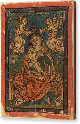 German 15th Century, Madonna And Child Seated On A Grassy Canvas Print