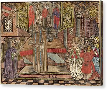 German 15th Century, Miracle At Seefeld, 1484, Woodcut Canvas Print