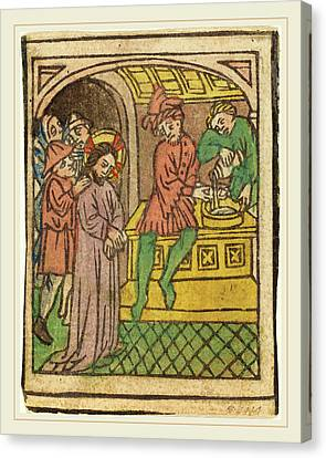 German 15th Century, Pilate Washing His Hands Recto Canvas Print