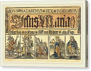 Saint Christopher Canvas Print - German 15th Century, Saint Anne, The Madonna And Child by Litz Collection
