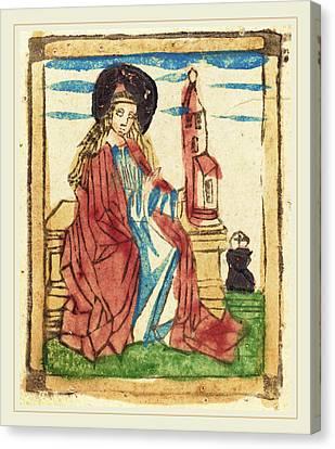 German 15th Century, Saint Barbara, 1460-1470, Woodcut Canvas Print