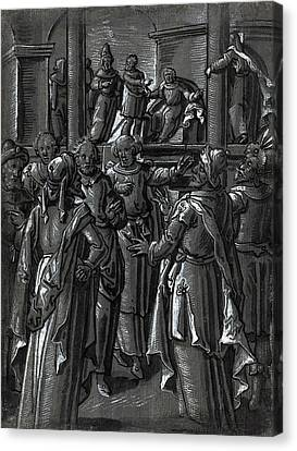 German 16th Century, The High Priest Before Pilate Canvas Print