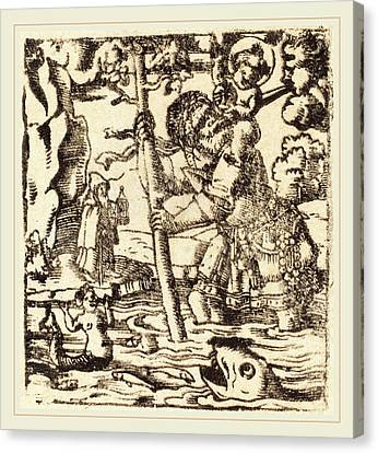 German 16th Or 19th Century, Saint Christopher Canvas Print by Litz Collection