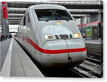 German Ice Intercity Bullet Train Munich Germany Canvas Print by Imran Ahmed