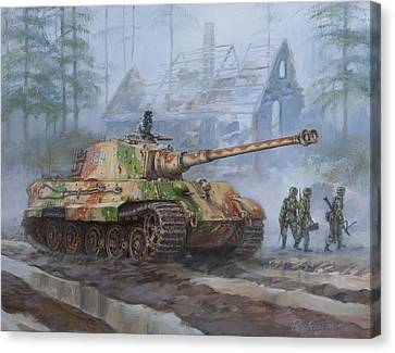 Armor Canvas Print - German King Tiger Tank In The Battle Of The Bulge by Philip Arena