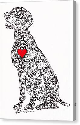 Canvas Print featuring the drawing German Pointer by Melissa Sherbon