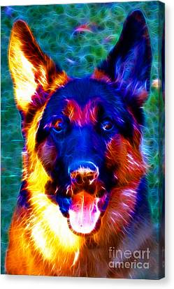 German Shepard - Electric Canvas Print by Wingsdomain Art and Photography