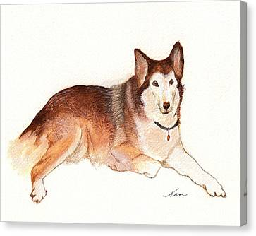 Canvas Print featuring the painting German Shepherd Dog by Nan Wright