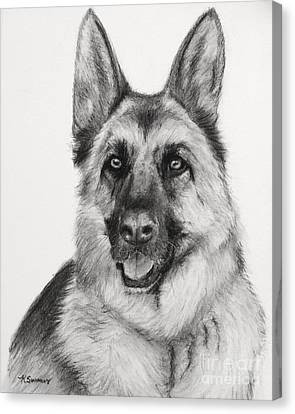 German Shepherd Drawn In Charcoal Canvas Print