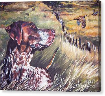 Pheasant Canvas Print - German Shorthaired Pointer And Pheasants by Lee Ann Shepard