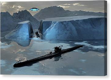 German U-boats And A Flying Saucer Canvas Print by Mark Stevenson
