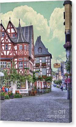German Village Along Rhine River Canvas Print by Juli Scalzi