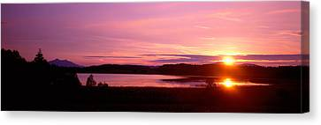 Germany , Forggen Lake, Sunset Canvas Print by Panoramic Images