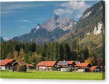 Germany, Bavaria, Graswang, Town Canvas Print by Walter Bibikow