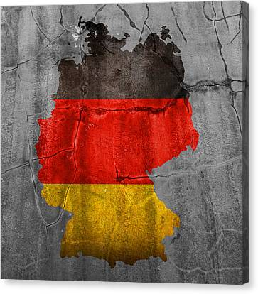 Old Canvas Print - Germany Flag Country Outline Painted On Old Cracked Cement by Design Turnpike