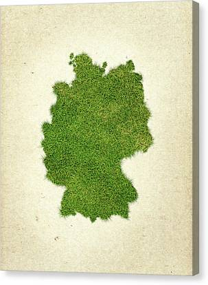Germany Grass Map Canvas Print by Aged Pixel