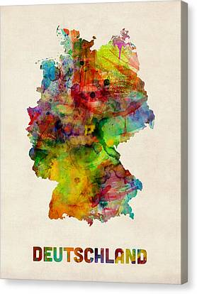 Germany Watercolor Map Deutschland Canvas Print by Michael Tompsett