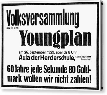Germany: Young Plan, 1929 Canvas Print by Granger