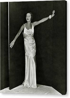 Gertrude Lawrence In A Molyneux Dress Canvas Print by George Hoyningen-Huene