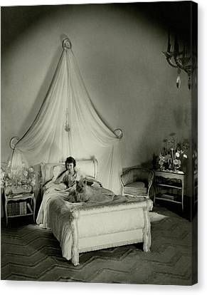 Gertrude Lawrence In Bed Canvas Print by Cecil Beaton