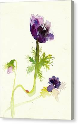 Gesture Anemone Watercolor - Purple Blue Anemone Watercolor Painting Canvas Print by Tiberiu Soos