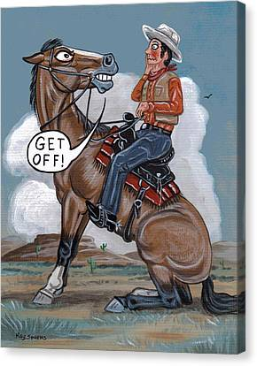 Caricature Cowboy Canvas Print - Get Off by Kay Sparks