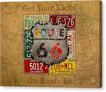 66 Canvas Print - Get Your Kicks On Route 66 Vintage License Plate Art On Worn United States Highway Map by Design Turnpike