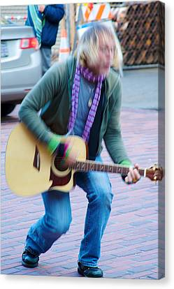 Canvas Print featuring the photograph Gettin Down - Street Musician In Seattle by Jane Eleanor Nicholas
