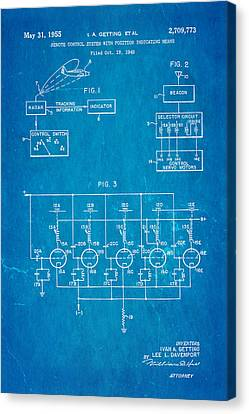Getting Global Positioning System Gps Patent Art 1955 Blueprint Canvas Print by Ian Monk
