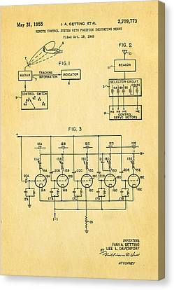 Getting Global Positioning System Gps Patent Art 1955 Canvas Print by Ian Monk