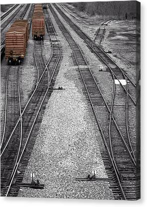 Getting On The Right Track Canvas Print by Denise Beverly