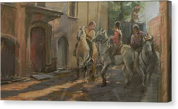 Getting Ready For The Bull Run, 2009 Pastel On Paper Canvas Print by Pat Maclaurin