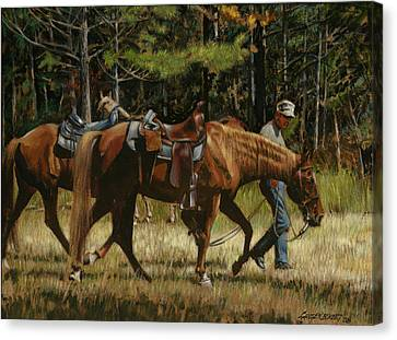 Getting Ready To Ride Canvas Print