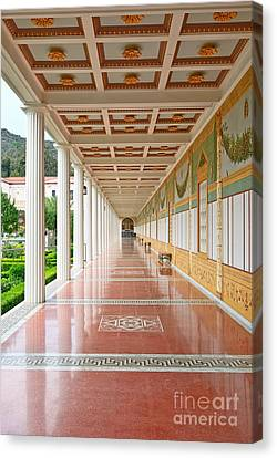 Getty Canvas Print - Getty Villa - Covered Walkway by Jamie Pham