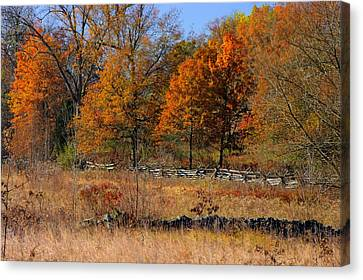 Gettysburg At Rest - Autumn Looking Towards The J. Weikert Farm Canvas Print by Michael Mazaika