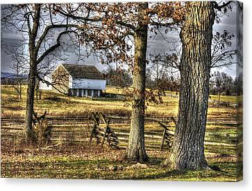 Canvas Print featuring the photograph Gettysburg At Rest - Winter Edward Mc Pherson Farm by Michael Mazaika
