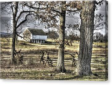 Canvas Print featuring the photograph Gettysburg At Rest - Winter Muted Edward Mc Pherson Farm by Michael Mazaika