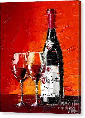 Still Life With Wine Bottle And Glass IIi Canvas Print by Mona Edulesco