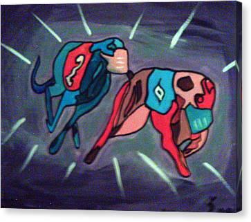 Geyhounds Running Canvas Print by Loretta Nash
