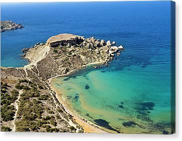 Ghajn Tuffieha Bay, Aerial View, Malta Canvas Print