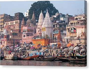 Ghats Along The Bank Of The Ganges Canvas Print by Keren Su
