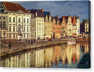 Watercraft Canvas Print - Ghent Waterfront by Joan Carroll