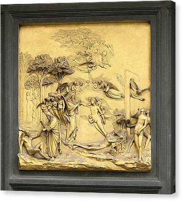Ghiberti's Panel Of The Creation Canvas Print by Sheila Terry