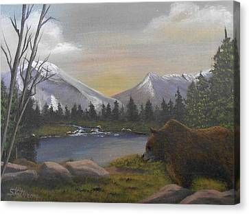 Canvas Print featuring the painting Ghost Bear-the Cascade Grizzly by Sheri Keith