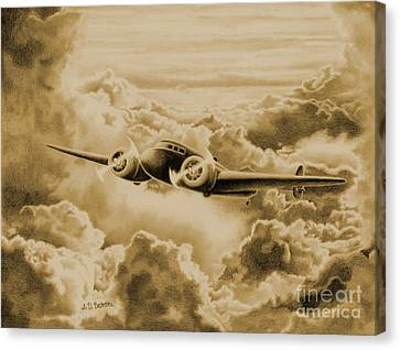 Ghost Flight- Amelia Earhart Sepia Canvas Print by Sarah Batalka
