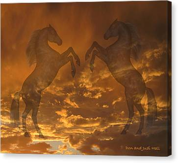 Ghost Horses At Sunset Canvas Print by Donald and Judi Hall