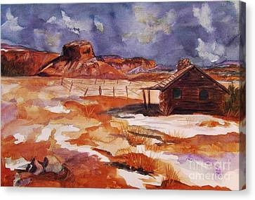 Log Cabin Interiors Canvas Print - Ghost Ranch Nm Winter  by Ellen Levinson