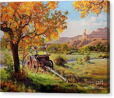 Ghost Ranch Old Wagon Canvas Print by Gary Kim